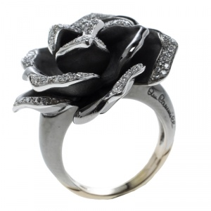 Annamaria Cammilli Black Rose Diamond & Black Rhodium Plated 18k Gold Cocktail Ring Size 51
