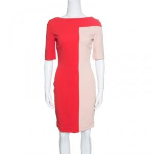 Antonio Berardi Red and Peach Colorblock Sheath Dress S