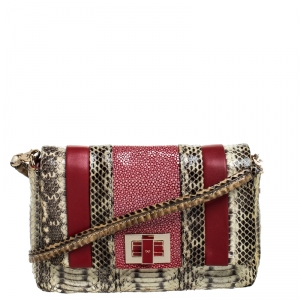 Anya Hindmarch Red/Cream Python,Leather and Stingray Stripy Gracie Flap Bag