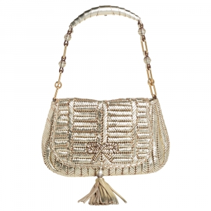 Anya Hindmarch Metallic Gold Woven Leather Shoulder Bag