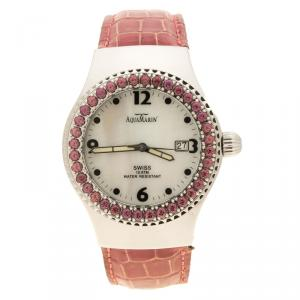 AquaMarin White Mother of Pearl Stainless Steel Sea Star Women's Wristwatch 37 mm