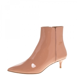 Aquazzura Beige Patent Leather Quant Pointed Toe Ankle Booties Size 37 -