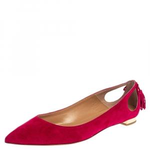 Aquazzura Pink Suede Leather Forever Marilyn Fringe Ballet Flats Size 39