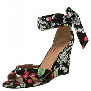 Aquazzura Multicolor Cherry Blossom Print Fabric All Tied Up Sandals Size 40 -