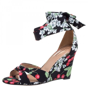 Aquazzura Multicolor Fabric Cherry Bloosom Ankle Wrap Wedge Sandals Size 39.5 -