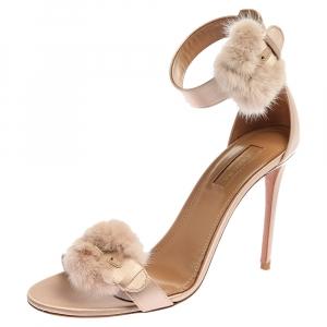 Aquazzura Beige Satin And Mink Fur Sinatra Ankle Cuff Sandals Size 39.5 -
