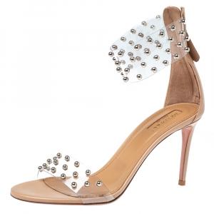 Aquazzura Nude Beige PVC and Leather Illusion Studded Sandals Size 38.5
