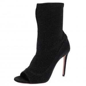 Aquazzura Black Lurex Fabric Eclair Peep Toe Ankle Boots Size 38