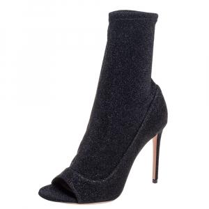 Aquazzura Black Lurex Fabric Eclair Peep Toe Ankle Boots Size 37.5