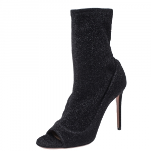 Aquazzura Black Glitter Lurex Fabric Eclair Ankle Booties Size 38.5 - used
