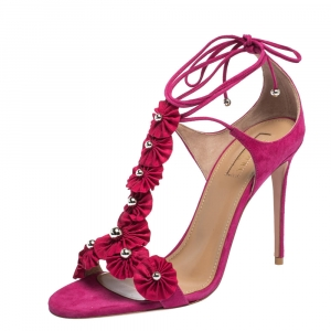 Aquazzura Pink Suede And Fabric Exotic Ankle Wrap Sandals Size 36 - used