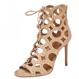 Aquazzura Beige Suede Leather Begum Studded Cut Out Open Toe Ankle Booties Size 37 -