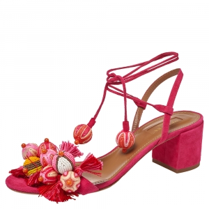 Aquazzura Paradise Pink Suede Tropicana Tasseled Beaded Ankle Tie Sandals Size 39 - used