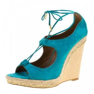 Aquazzura Turquoise Blue Suede Christie Wedge Espadrille Lace Up Open Toe Sandals Size 41 - used