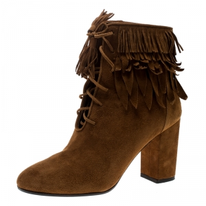 Aquazzura Cognac Brown Suede Woodstock Fringe Detail Ankle Boots Size 37 - used