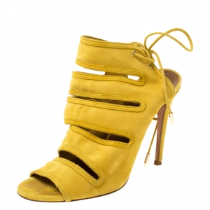 Aquazurra Mustard Suede Sloane Cutout Peep Toe Sandals Size 37
