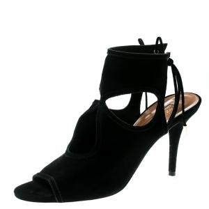 Aquazzura Black Cutout Suede Sexy Thing Peep Toe Sandals Size 37.5 - used