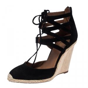 Aquazzura Black Suede Belgravia Espadrilles Wedge Sandals Size 40