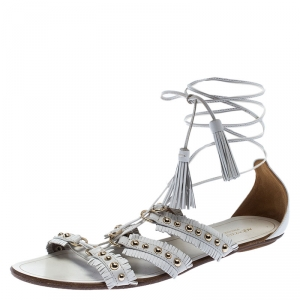 Aquazurra White Studded Leather Tulum Tassel Tie Up Flat Sandals Size 39 - used