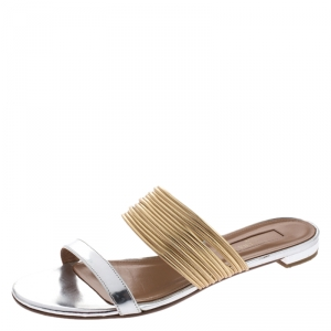 Aquazzura Metallic Gold/Silver Leather Rendez Vous Flat Slides Size 38.5 - used