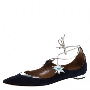 Aquazurra Blue/Silver Suede And Leather Poppy Delevingne Pointed Toe Ankle Wrap Flats Size 38 - used
