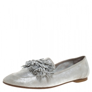 Aquazzura Silver Suede Fringe Detail Loafer Flats Size 38.5 - used