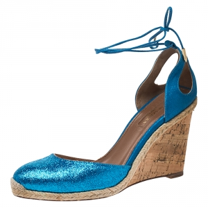 Aquazzura Blue Glitter Fabric And Leather Palm Beach Ankle Tie Cork Wedge Sandals Size 38 - used