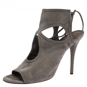 Aquazzura Grey Suede Leather Cutout Ankle Wrap Open Toe Sandals Size 38 - used