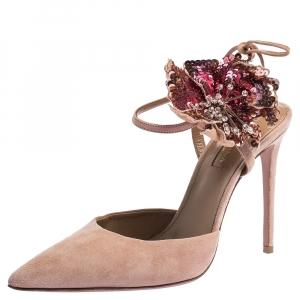 Aquazzura Beige Suede Disco Flower Embellished Ankle Tie Sandals Size 38.5 - used