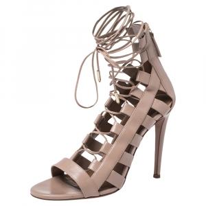 Aquazzura Beige Leather Gladiator Ankle Wrap Sandals Size 37 - used