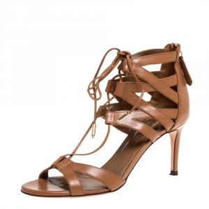 Aquazzura Brown Leather Beverly Hills Open Toe Sandals Size 35.5 - used