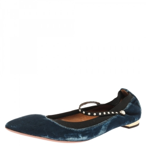 Aquazzura Blue Velvet Nolita Studded Mary Jane Ballet Flats Size 39