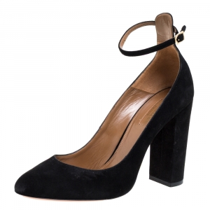 Aquazzura Black Suede Alix Ankle Strap Block Heel Pumps Size 38