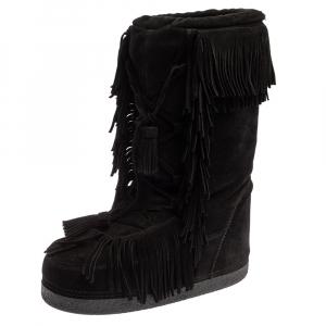 Aquazzura Black Suede Fringe Detail Lace Up Boho Karlie Boots Size 37 - used