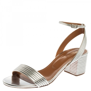 Aquazzura Silver Mirror Leather Sundance Block Heel Sandals Size 41