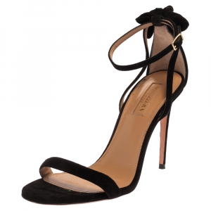 Aquazzura Black Suede Leather Bow Ankle Cuff Sandals Size 36 - used