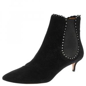 حذاء بوت كاحل أكوازورا طبقة لؤلؤ سويدي أسود مقاس 38.5