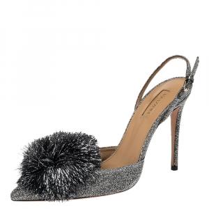 Aquazzura Silver Shimmery Fabric Powder Puff Pointed Toe Slingback Sandals Size 40.5