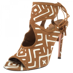 Aquazzura Printed Brown/White Printed Suede Sexy Thing Cutout Sandals Size 37 - used