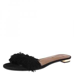 Aquazzura Black Suede Wild Thing Fringe Trimmed Flat Slides Size 37.5