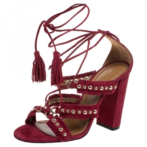 Aquazzura Burgundy Suede Leather Tulum Fringe Detail Studded Ankle Wrap Sandals Size 38