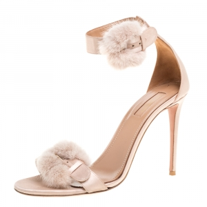 Aquazzura Beige Satin Sinatra Mink Trim Ankle Strap Sandals Size 40