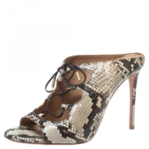 Aquazzura Cream/Black Python Embossed Leather Tie Up Sandals Size 38.5 - used