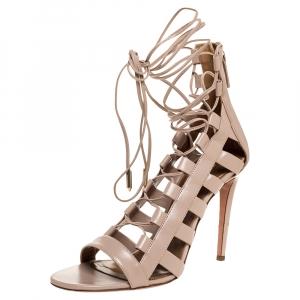 Aquazzura Beige Leather Amazon Lace Up Open Toe Sandals Size 39.5