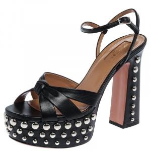 Aquazurra Black Leather Opera Studded Platform Sandals Size 37 - used
