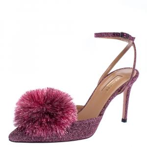 Aquazzura Pink Lurex Powder Puff Slingback Sandals Size 38.5 - used