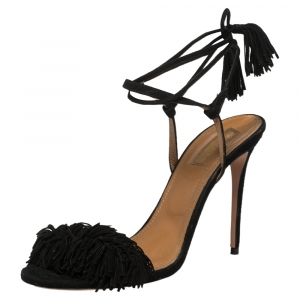 Aquazzura Black Fringed Suede Wild Thing Ankle Wrap Sandals Size 39 - used