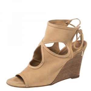 Aquazzura Beige Suede Sexy Thing Cutout Wedge Sandals Size 38 - used