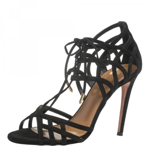 Aquazzura Black Suede Ginger Tie Wrap Sandals Size 37