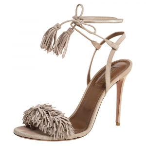 Aquazzura Beige Suede Leather Wild Thing Fringe Ankle Wrap Sandals Size 38.5